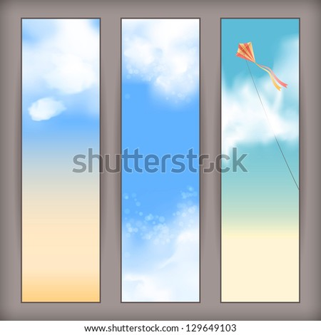 Sky banners with white fluffy clouds, blur, flying kite and space for text at the backdrop in blue and beige pastel colors. Vertical background design. Vector file in my portfolio - stock photo