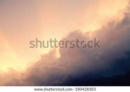 Sky before the storm, the storm clouds and sunset.Vintage sky. - stock photo