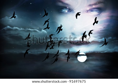 sky, birds, full moon and woman face, composed from two images - stock photo