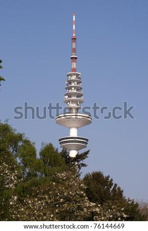Sky blue Broadcasting Tower in Hamburg, Germany. - stock photo