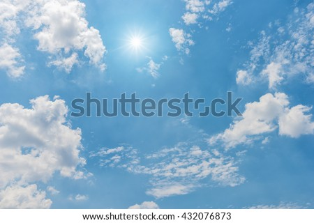 Sky, Blue sky, Blue sky with clouds and sun reflection - stock photo