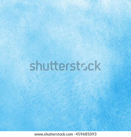 Sky blue watercolor abstract background. Painted texture with watercolour stains. Hand drawn square water template. - stock photo