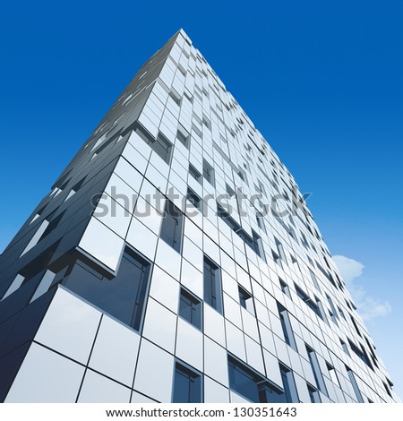Sky building. Skyscraper design and 3d model my own - stock photo