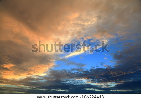 Sky clear in the evening. - stock photo