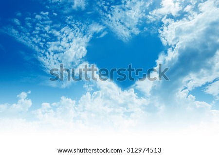 "Sky, clouds, forming a ""heart"" shape. - stock photo"