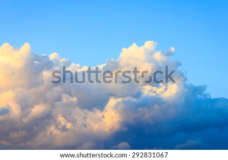 sky clouds with evening sunlight. - stock photo