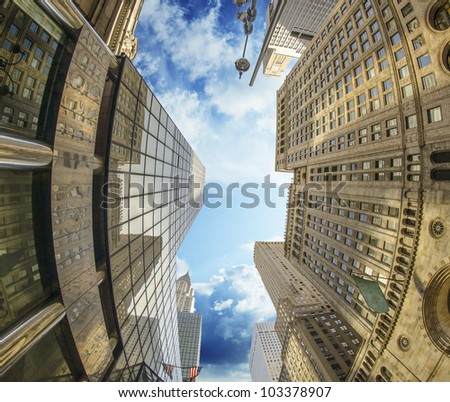 Sky Colors in Manhattan with Giant Skyscrapers, New York City - stock photo