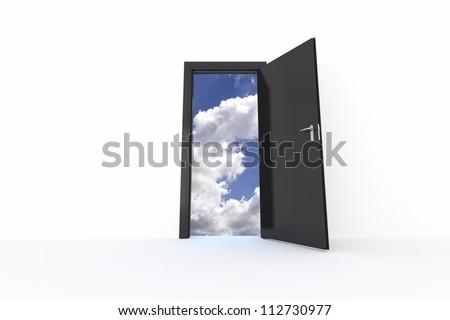 Sky Door - Isolated on White Background - stock photo