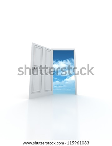 Sky in the Door - entrance to the future - stock photo
