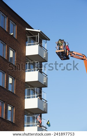 Sky Lift on the top floor of a house - stock photo