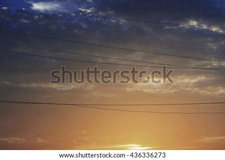Sky Light Sunset Sunbeam Outdoors Beautiful Concept - stock photo