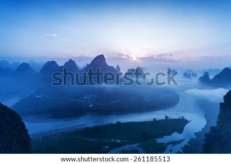 sky,mountains and landscape of Guilin  - stock photo