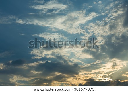 sky of sunset with clouds - stock photo