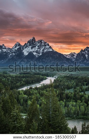 Sky on fire on snake river. Grand Teton National Park - Wyoming - stock photo