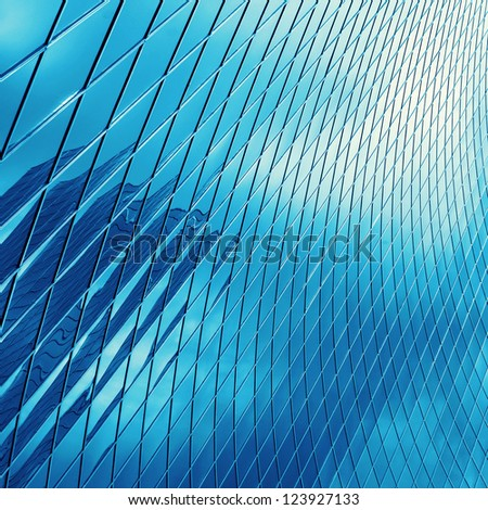 sky reflecting glass ; business abstract background - stock photo