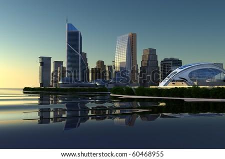Sky-scrapers of modern city ashore - stock photo