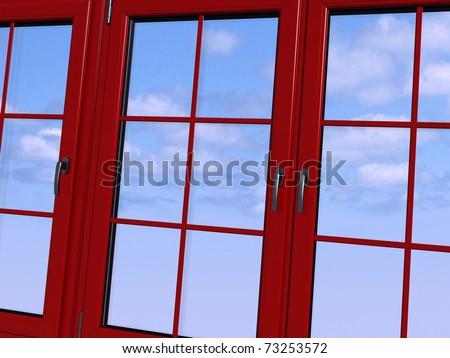 Sky seen through an red  window - stock photo