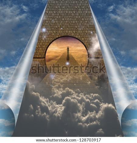 Sky splits open showing man on spiritual journey - stock photo