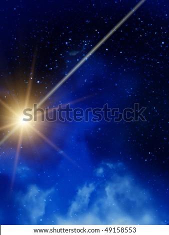 Sky  stars  clouds  night - stock photo