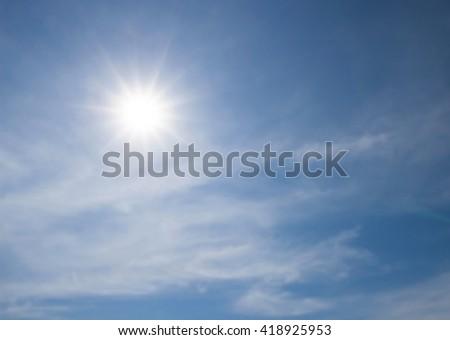 Sky sunny summer blue background - stock photo