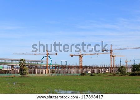 Sky Train System's construction at Bangbuathong, Nonthaburi, Thailand. - stock photo