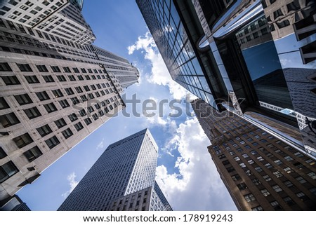 Sky view of buildings in New York city - stock photo