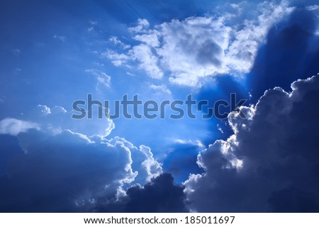 sky with clouds and sun , nature background - stock photo