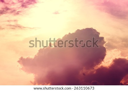 sky with clouds and sun. Vintage style - stock photo