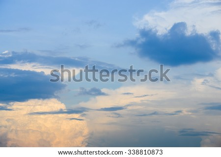 sky with clouds at evening - stock photo