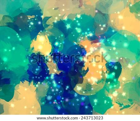 Sky with stars brush strokes background - stock photo
