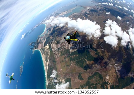 Skydive Wing Suit - stock photo