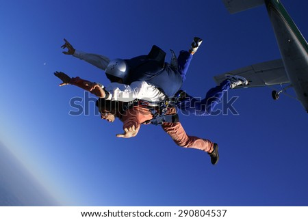 Skydivers Diving - stock photo