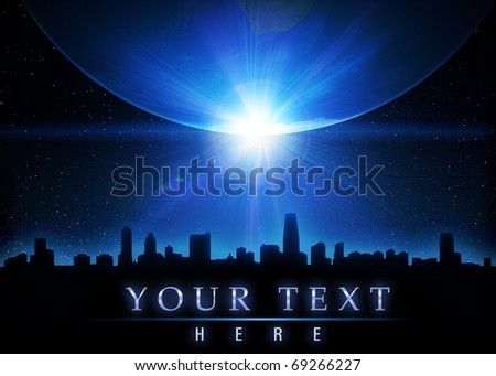 Skyline and planet with sunrise in space - stock photo