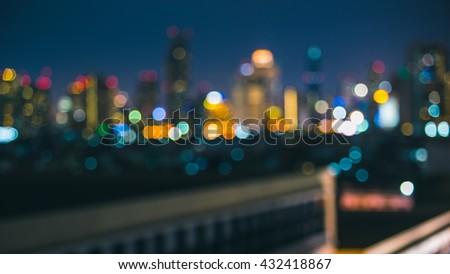 Skyline at Night- Blurred Photo bokeh - stock photo