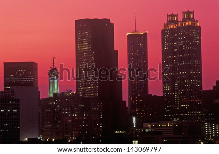 Skyline at sunset of the state capital of Atlanta, Georgia - stock photo