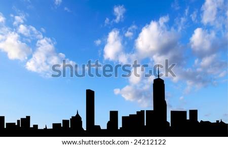skyline boston - stock photo