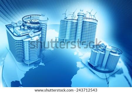 Skyline  building on globe earth  - stock photo