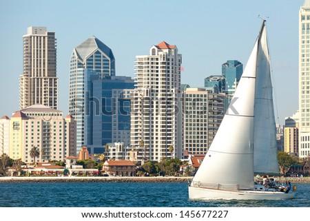 Skyline Cityscape of Downtown City, San Diego, California from Coronado Island  - stock photo