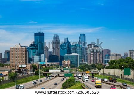 Skyline in Minneapolis, Minnesota - stock photo