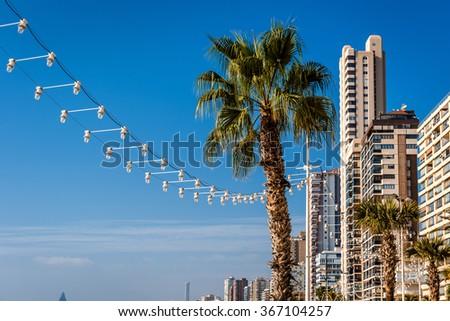 Skyline of a Benidorm city. Benidorm is a major beach destination for European tourists.Alicante.  Spain - stock photo
