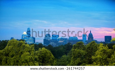 Skyline of Austin, Texas at dusk - stock photo
