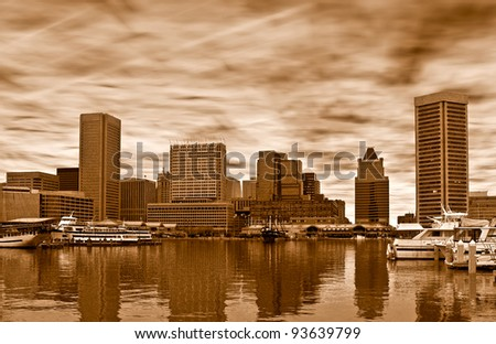 Skyline of Baltimore in sepia - stock photo