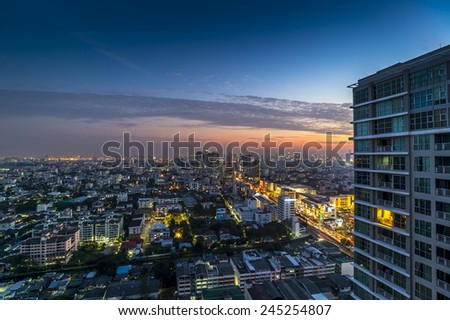 Skyline of Bangkok at sunset  - stock photo