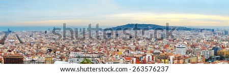 Skyline of Barcelona at beautiful sunset. Spain - stock photo