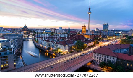 Skyline of Berlin, view of the Alexanderplatz - stock photo