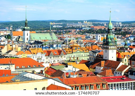 Skyline of Brno city in the sunny day, Czech Republic  - stock photo