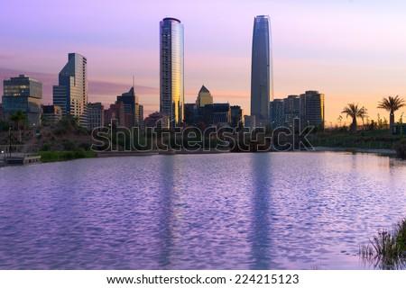 Skyline of buildings at Las Condes district, Santiago de Chile - stock photo