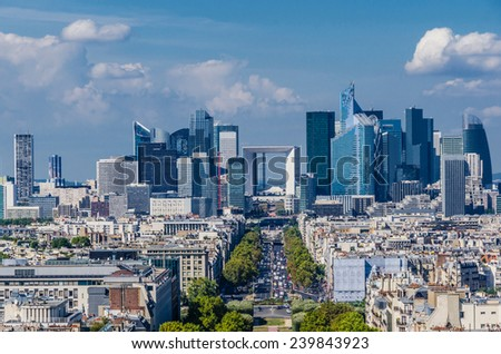 Skyline of business district of Paris, La Defense. Modern architecture - stock photo