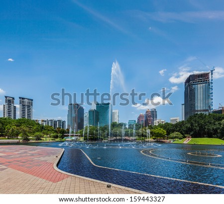 Skyline of Central Business District of Kuala Lumpur, Malaysia - stock photo