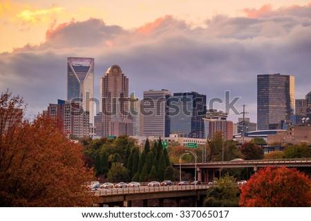 Skyline of downtown Charlotte in north carolina, USA - stock photo